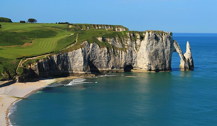 white chalk cliffs of Etretat